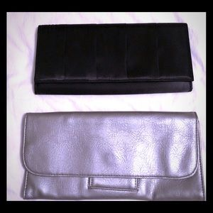 Bundle of 2 Style &Co Clutches Black Satin/Silver